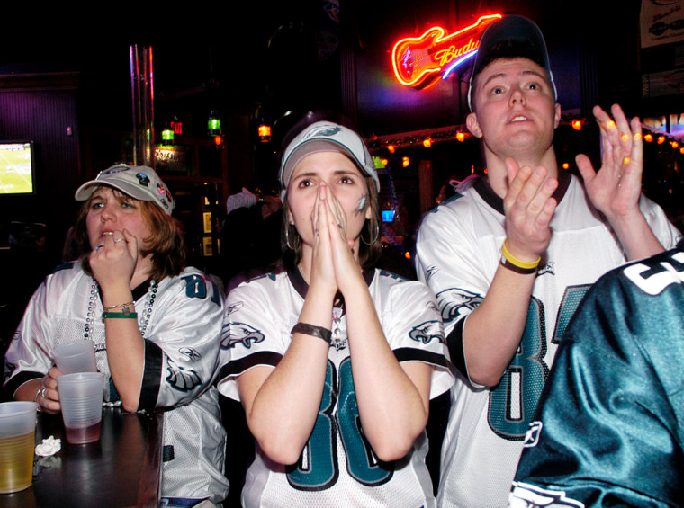 Hopeful Eagles Fans Watch Super Bowl XXXIX
