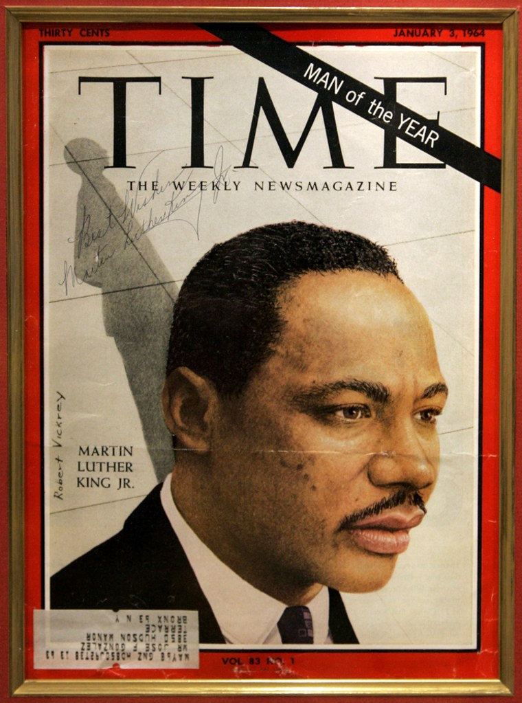 The signature of Rev. Martin Luther King, Jr. on a copy of Time Magazine naming him as Man of the Year is featured in an exhibit of black journalism as part of Black History Month at the National Press Club in Washington.