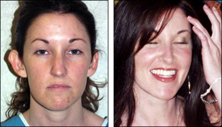 Michelle Comeau, domestic abuse survivor, before and after a makeover