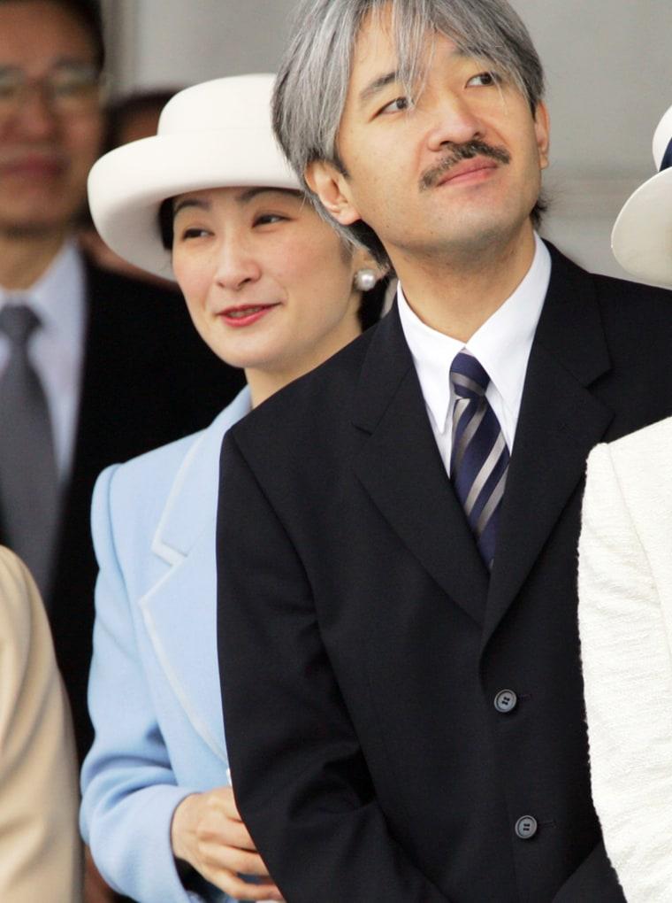 File photo of Japanese Princess Kiko and Prince Akishino seeing off Emperor and Empress in Tokyo