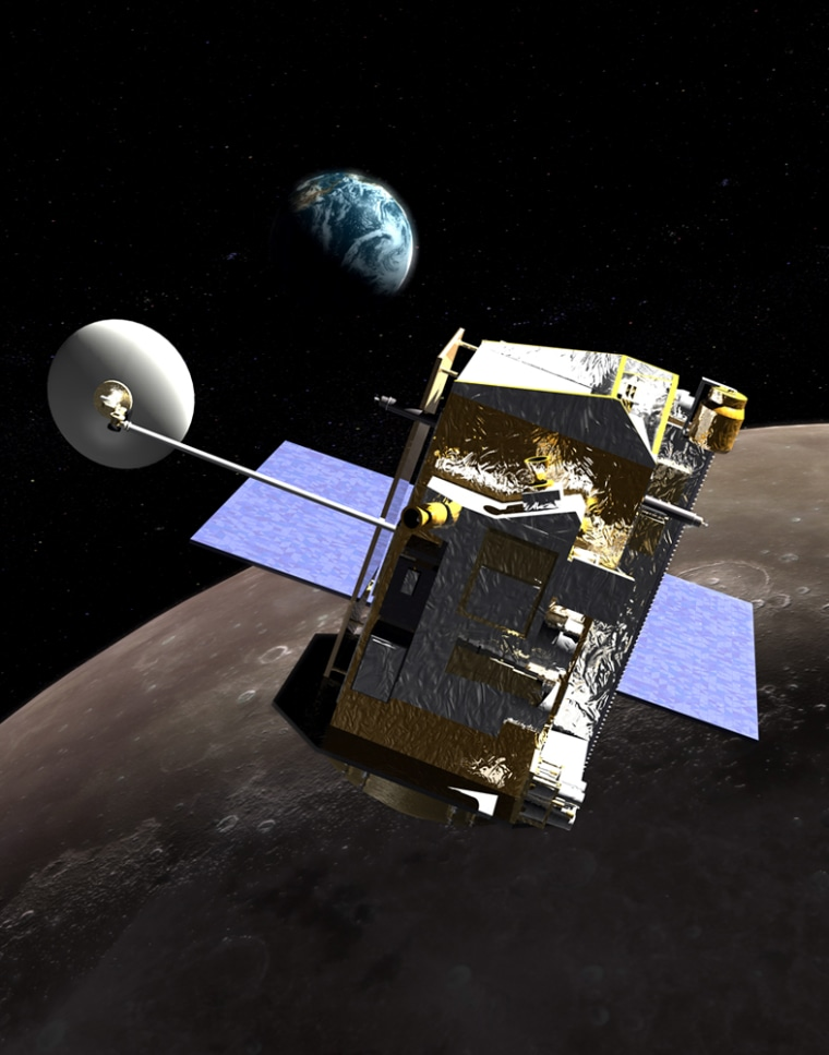 The Lunar Reconnaissance Orbiter, shown in this artist's conception, will survey the lunar surface, develop better data about the moon's water ice resources and characterize the radiation environment.