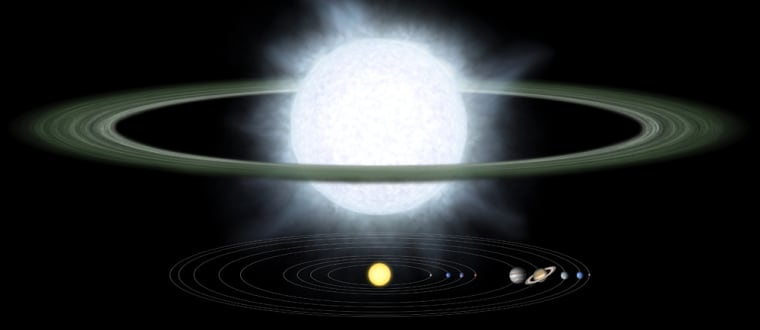 An artist's conception shows a hypergiant star and its dust disk in comparison with the extent of our solar system The sizes ofour sun and the planets are notdrawn to scale.