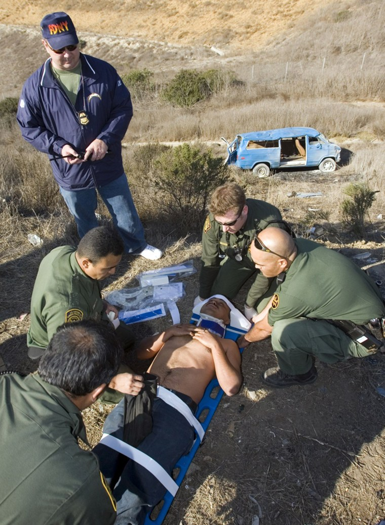 US Border Patrol agents treat suspected illegal immigrant that was in van in San Diego