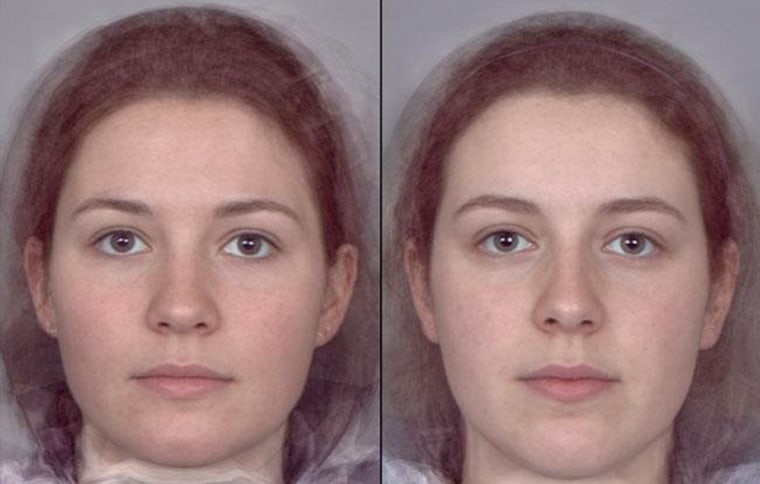Which face is more attractive? Researchers at the University of St. Andrews created composite images of women with high levels of estrogen, at left, and low estrogen levels, at right. They found that men tended to rate women with higher levels of estrogen as more attractive, healthier and more feminine-looking than those with lower levels.