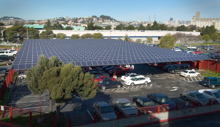 CHEVRON SOLAR ELECTRIC SYSTEM MOUNTED ON A PARKING CANOPY