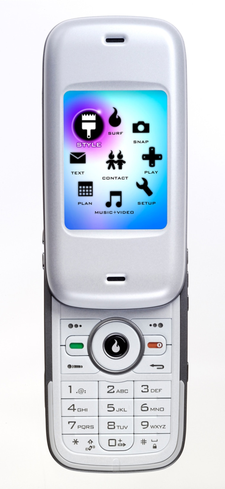 The Kickflip phone, one of the two MySpace phones, is shown in this undated handout image from Helio.