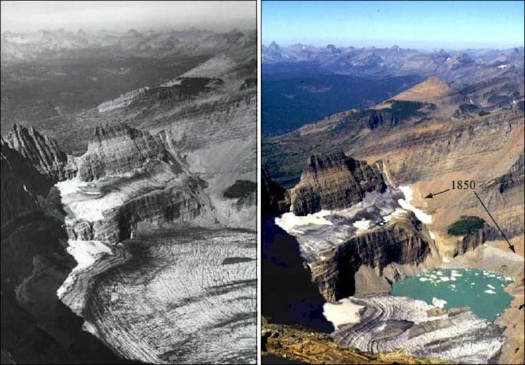 Grinnell Glacier in Glacier National Park is seen in the summer of 1938, left, and the summer of 1981. By 1993, the glacier had shrunk two thirds in area and had retreated by two thirds of a mile since 1850.