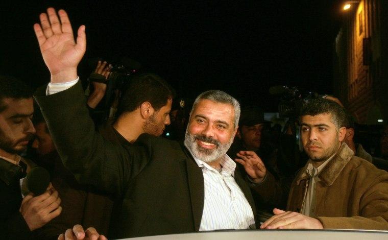 Hamas leader Haniyeh waves in Gaza