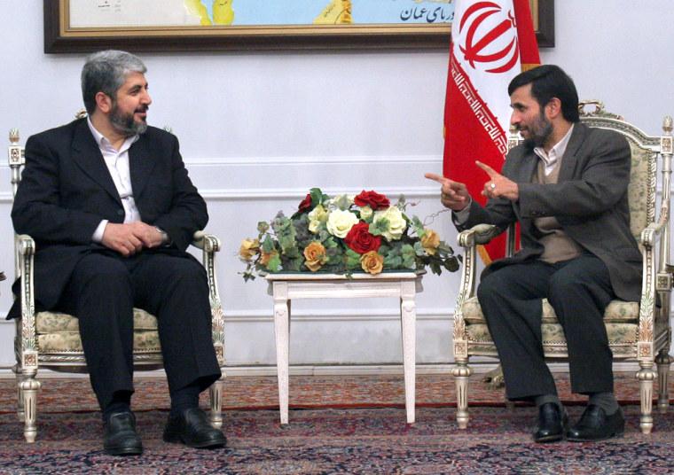Meshaal meets with Iranian President Ahmadinejad in Tehran