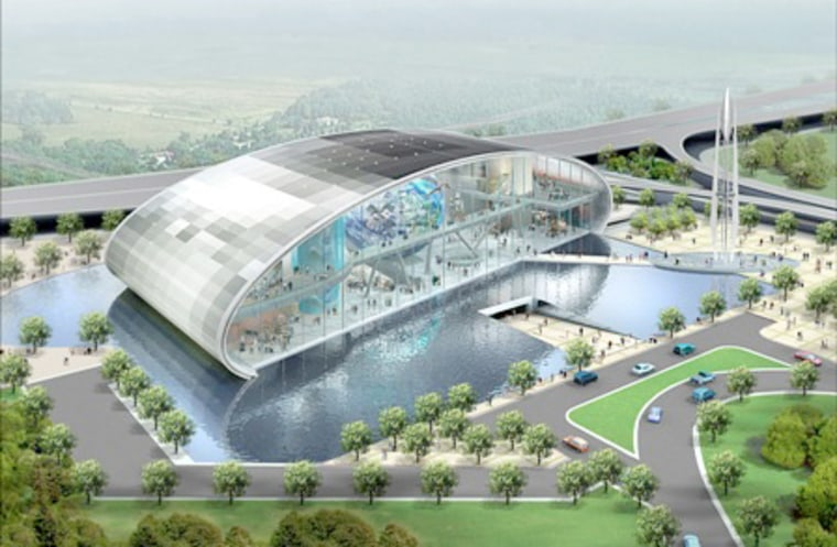 An artist's conception shows the visitor complex for Spaceport Singapore.