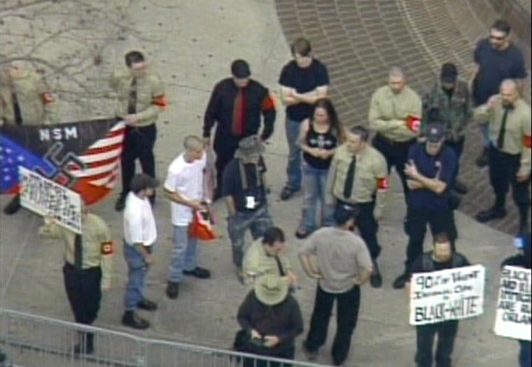 Neo-Nazis held a rally before a planned march through a predominantly black neighborhood in Orlando, Fla., onSaturday.