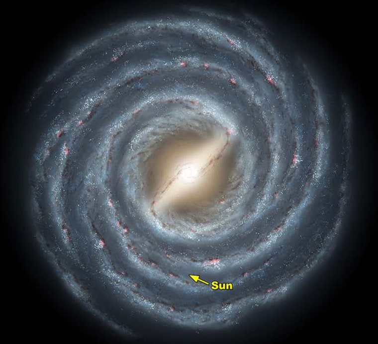 This artist's conception shows roughly how our Milky Way galaxy might look to a traveler looking down from above the central spiral arm. Our sun's position is marked by the yellow arrow.