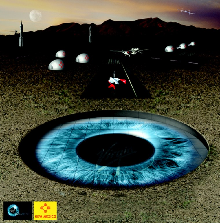 This artist's conception shows a spaceport with runways and an iris-shaped logo set in the New Mexico desert. Most of the facilities would be underground.