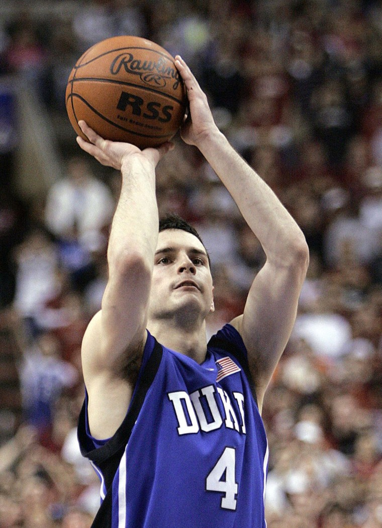 Duke guard Redick shoots foul shot during second half NCAA basketball action against Temple in Philadelphia