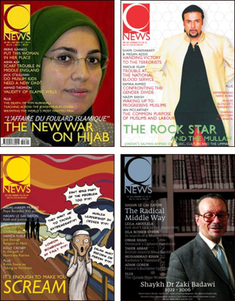 Q News covers from (clockwise) Jan. 2004, March 2005, Feb, 2006 and March 2005 display a story mix hoping to spread a message of tolerance, inclusiveness and openness to the outside world.