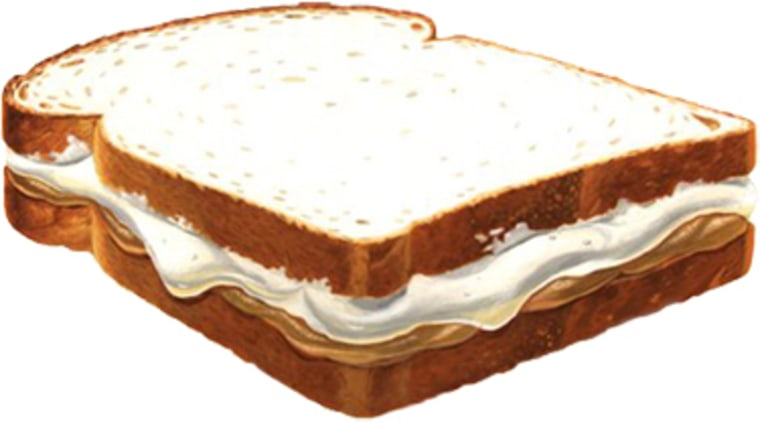 This illustration from MarshmallowFluff.com shows a Fluffernutter sandwich, made of Marshmallow Fluff and peanut butter.