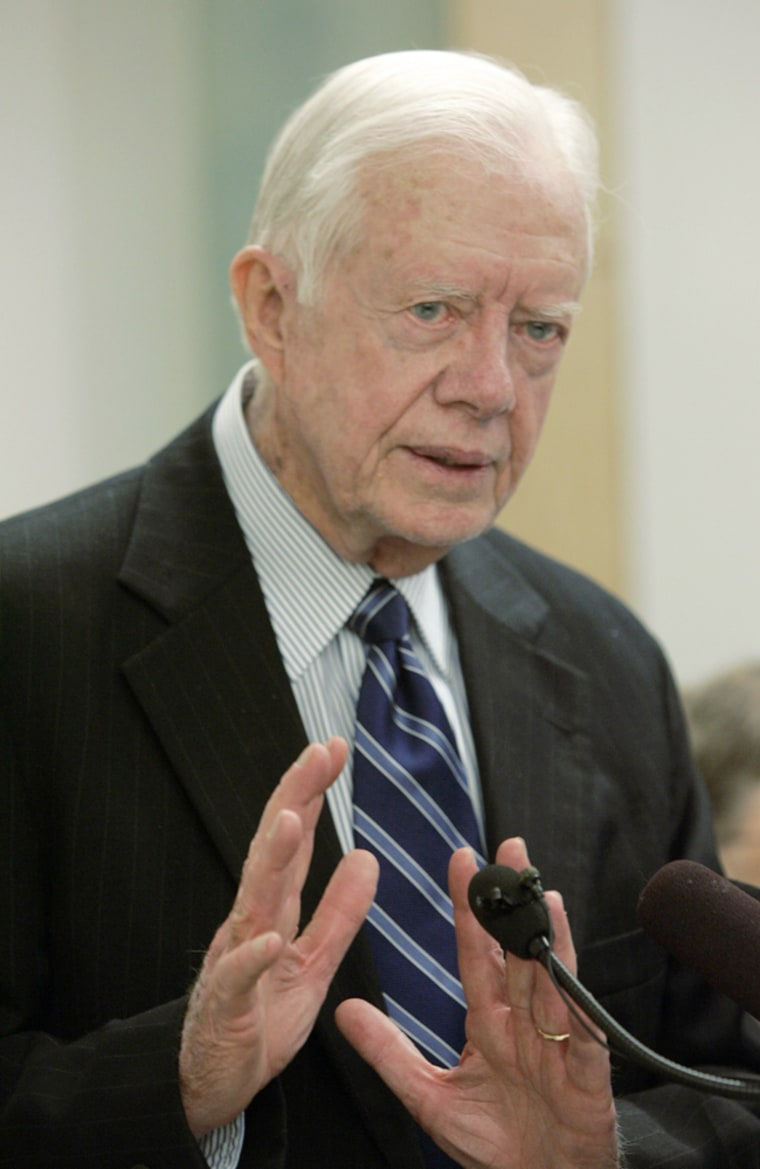 Former US President Jimmy Carter speaks during a news conference in Seattle