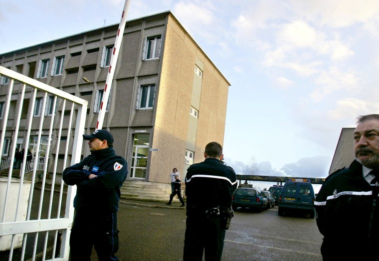 Police guard entrance of Colbert de Torcy highschool where jobless teacher took hostages in Sable-sur-Sarthe