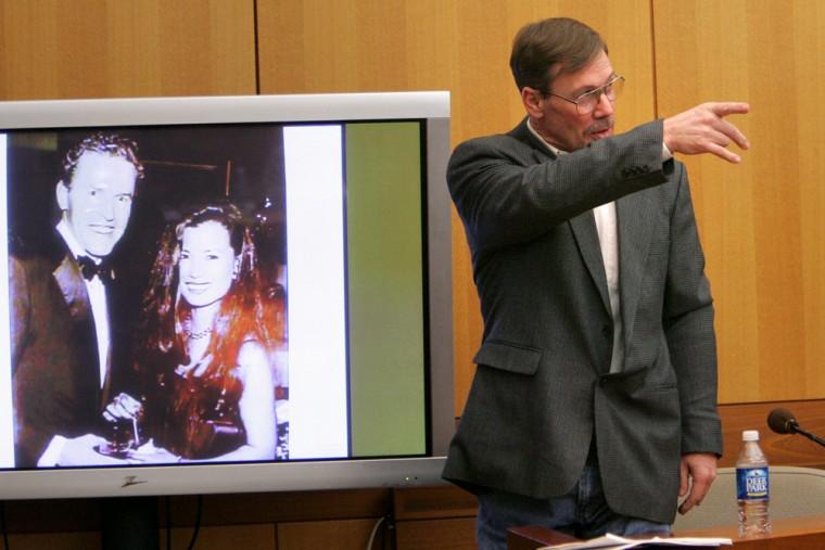 Phillip Harwood,the hit man who admitted killing James Sullivan's wife, addresses Sullivan in Atlanta onMonday.