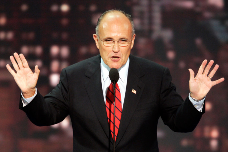 Former New York Mayor Rudy Giuliani addresses the evening session of the 2004 Republican National Convention