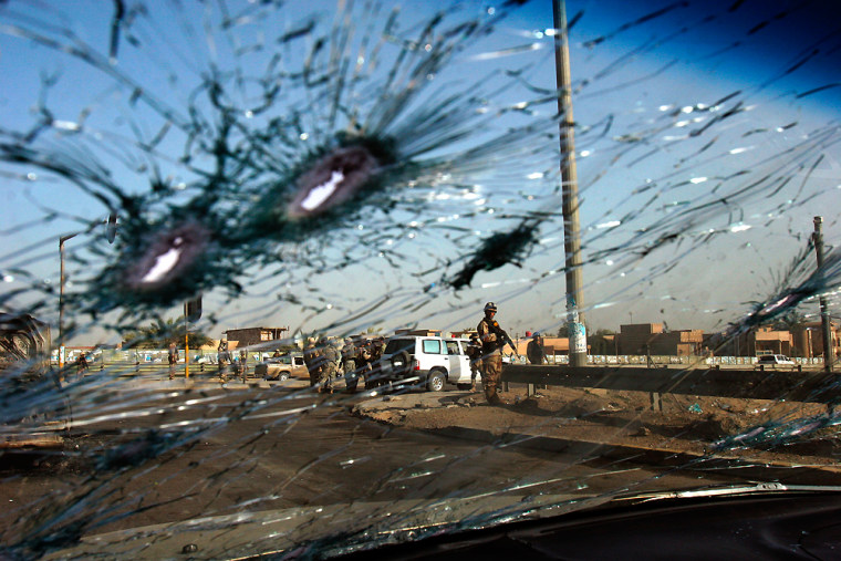 The windshield ofa car in a Sunni convoy following an attack earlier this month.