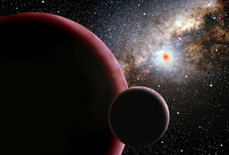"""The discovery of a """"super-Earth"""" orbiting a red dwarf star 9,000 light-years away suggests that such worlds are three times more common than Jupiter-sized planets. The 13-Earth-mass planet, shown in this artist's conception with a hypothetical moon, was detected by a search for microlensing events."""