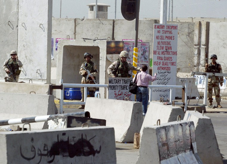 US soldiers guard an entrance to the so-