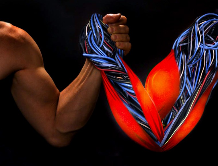 Artificial muscles probably won't be structured like the anthropomorphic biceps shown in this illustration, but they could make a showing in future arm-wrestling contests as well as shape-shifting aircraft and powered prosthetic limbs.
