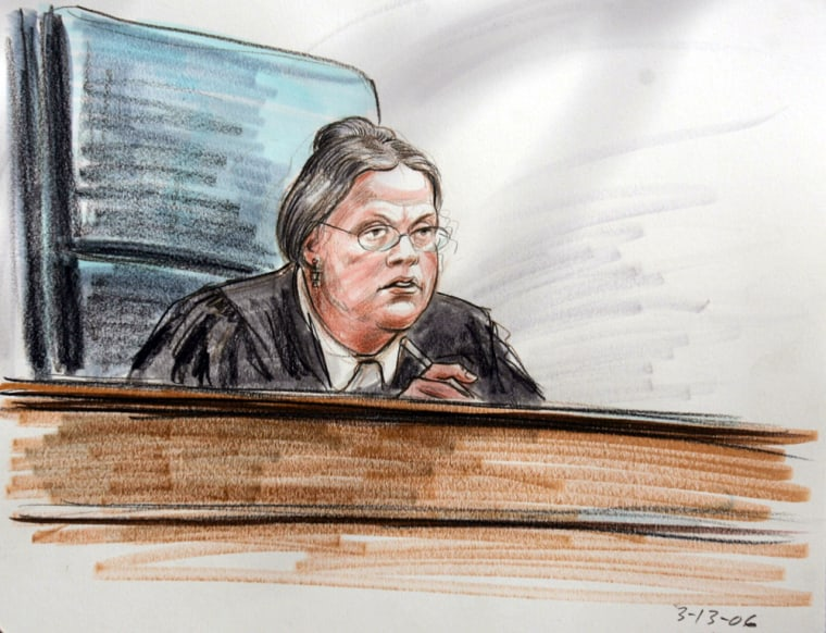 This courtroom sketch shows US District