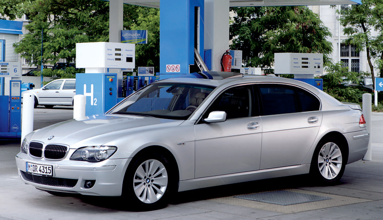 BMW has been testing hydrogen on several vehicles like this one, seen at a hydrogen fueling station in Berlin, Germany.
