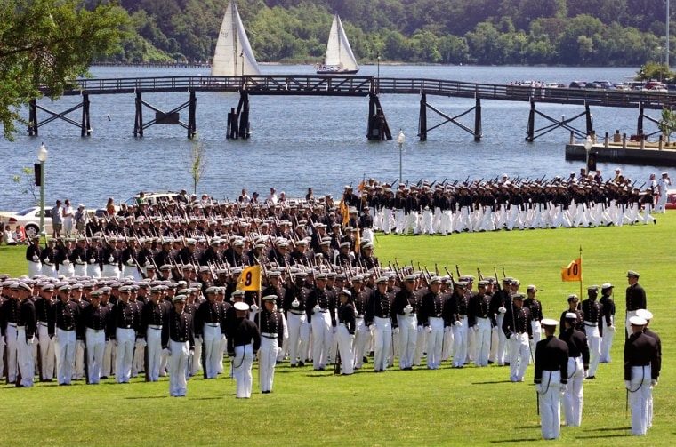 Cadets march onto WordenField at the U.S. Naval Academy in Annapolis, Md. Of 56 midshipmen accused of sexual assault since 1998, only two have been convicted, and one of those was in a civilian court.