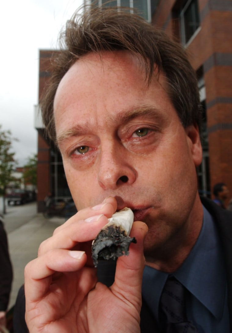 Leader Of Marijuana Party Of B.C. Holds Smoke In