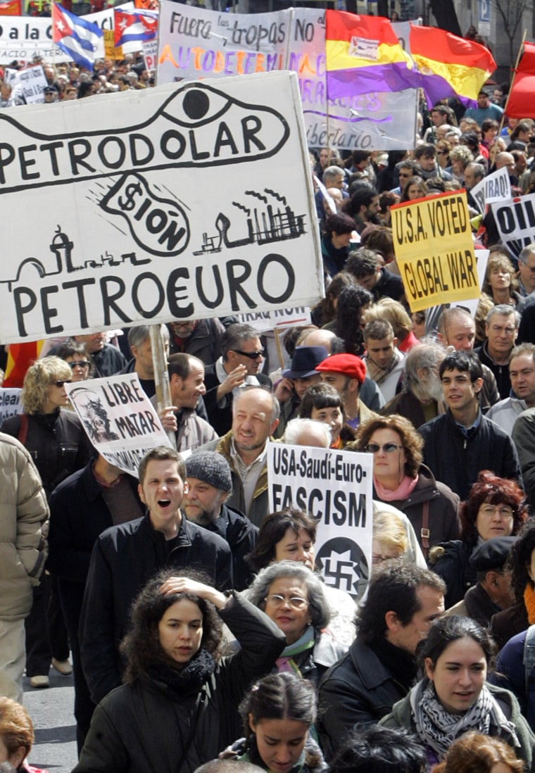 Thousands protest against US-led invasion into Iraq in Madrid