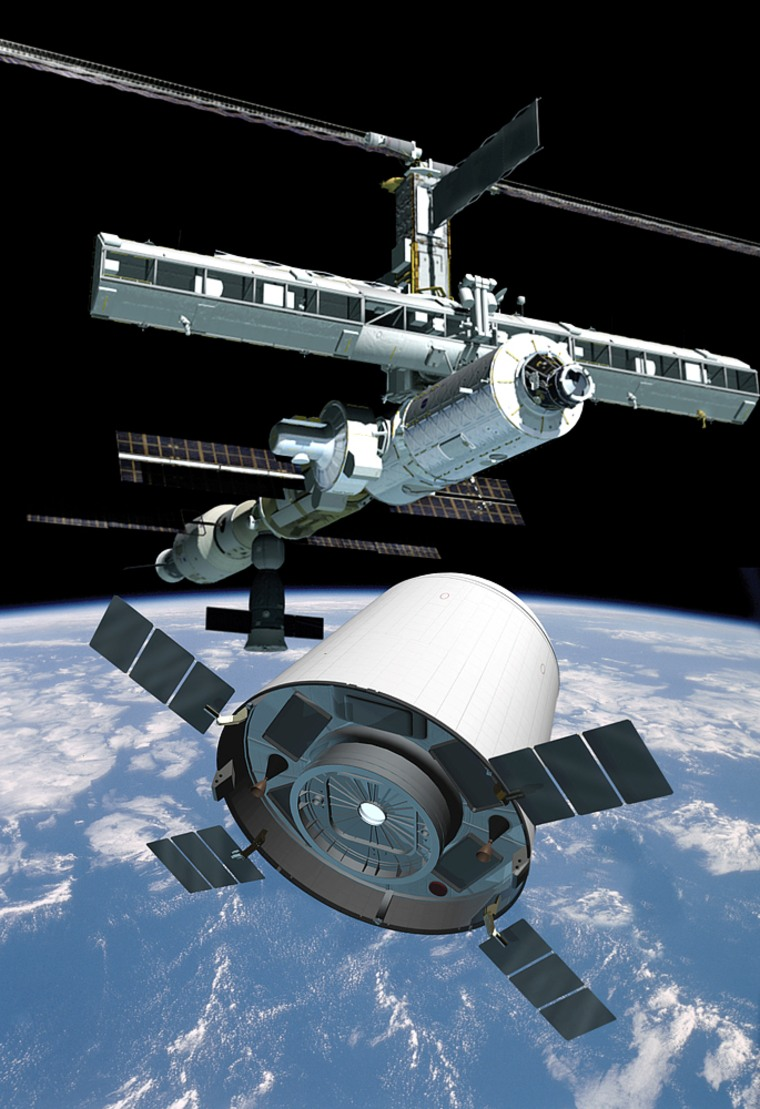 In this artist's conception, Transformational Space's Crew Transfer Vehicle orbits near the international space station. The t/Space concept is one of several being proposed to NASA for servicing the space station.
