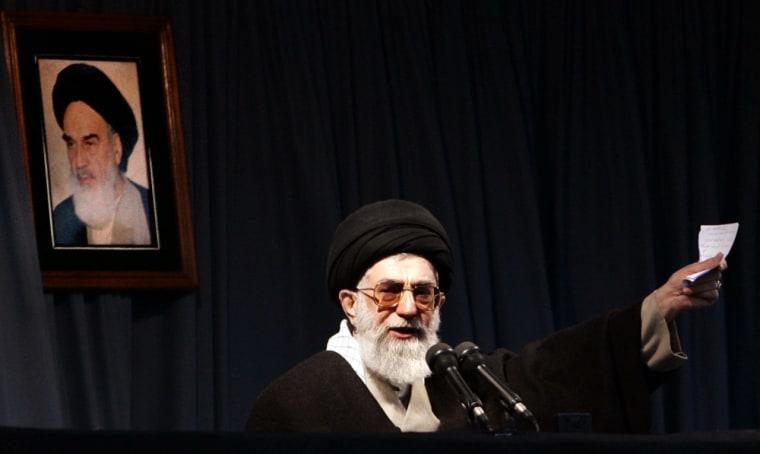 Iran's Supreme Leader Ayatollah Khamenei speaks in Mashhad