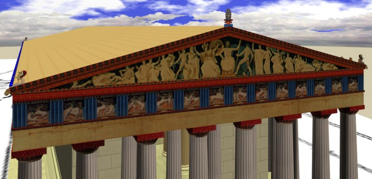 This computer-generated view, produced by Iowa State University's Virtual Reality Applications Center, shows the Parthenon as it might have appeared during its colorful prime.