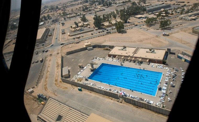 The swimming pool at Balad air base, as seen through the window of a Black Hawk helicopter, 44 miles north of Baghdad, Iraq, on Aug. 25, 2005.