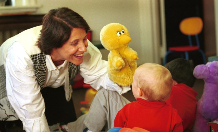 Temple University psychologist Kathy Hirsh-Pasek interacts with infants to figure out how they learn their first words.