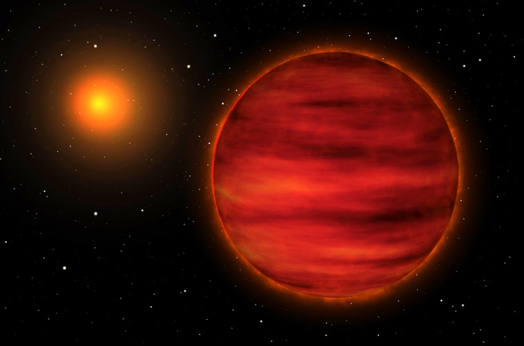 An artist's depiction of the brown dwarf (right) orbiting its red star parent SCR 1845-6357.