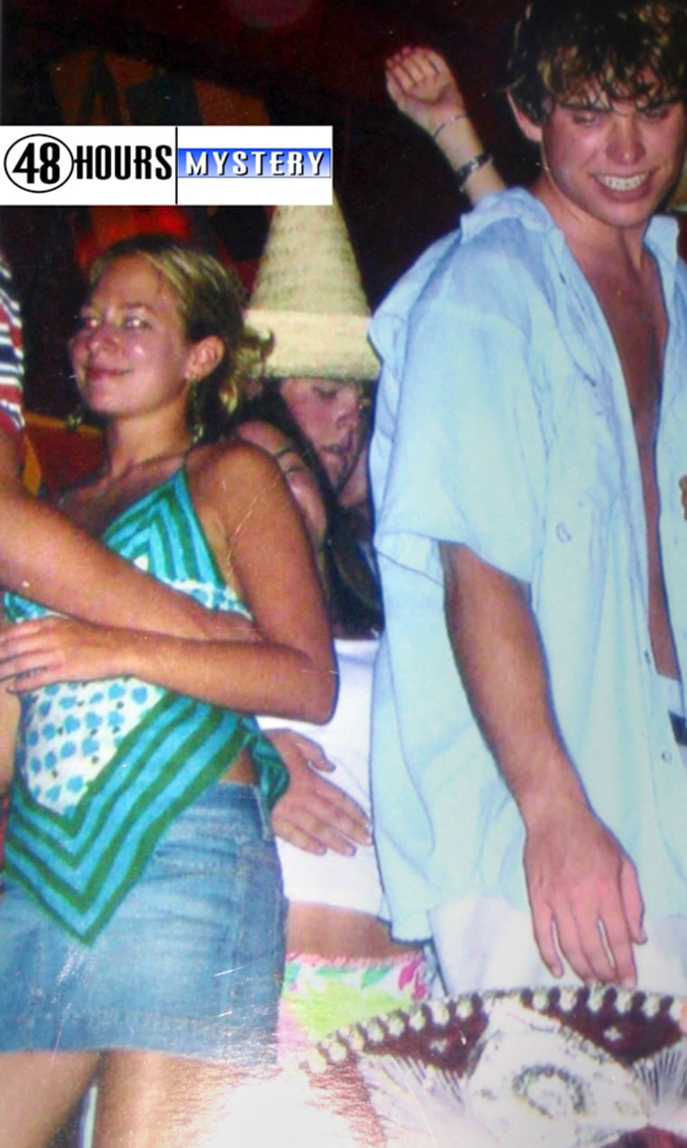 """This photo provided by CBS's """"48 Hours Mystery"""" on Wednesdayshows missing Alabama teen Natalee Holloway, left, at Carlos and Charlie's, a nightclub in Aruba, in what CBS says is believed to be the last known photo of her, taken the night she disappeared, May 30, 2005. FBI agents discovered the photo in the camera of one of Holloway's classmates. Others in the photo are unidentified."""
