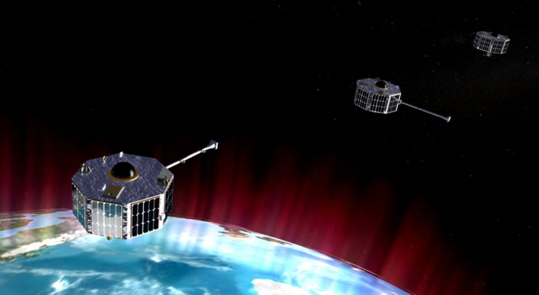 An artist's conception shows the three ST5 microsatellites in orbit.