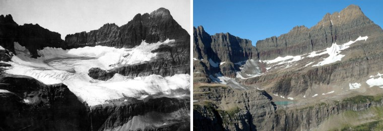 These photographs show how Glacier National Park's Shepard Glacier has changed over 92 years, as seen from Pyramid Peak. The left picture was taken in 1913, and the right picture was taken in 2005.