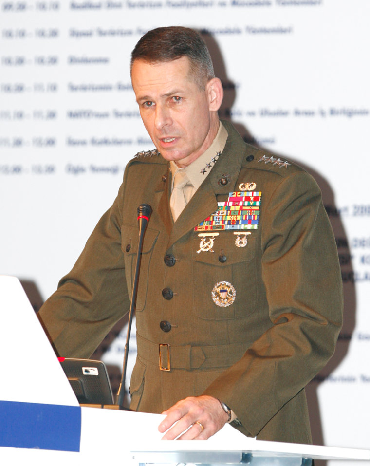 U.S. Marine Gen. Peter Pace, the chairman of theJoint Chiefs of Staff, addresses the Global Terrorism and International Cooperation Symposium in Ankara, Turkey, onFriday.