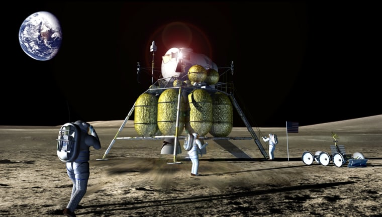 """An artist's conception shows astronauts working around a lunar lander. NASA says the first missions to the moon would be Apollo-like """"sorties,"""" leading to a permanent base."""