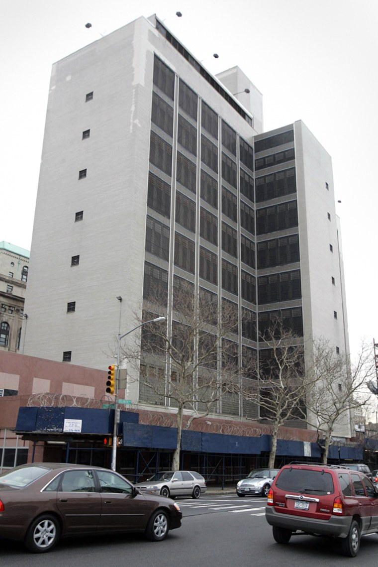 The Brooklyn House of Detention rises over Atlantic Avenue in the Brooklyn borough of New York.