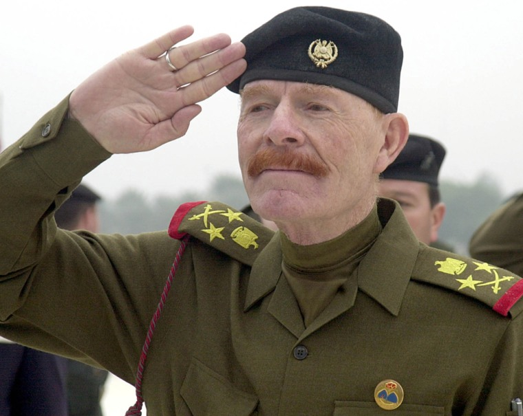 Saddam Hussein's chief deputy, Izzat Ibrahim al-Douri, pictured here on Dec. 1, 2002, during a ceremony in Baghdad, Iraq, purportedly called for Arab leaders to back Iraq's Sunni-backed insurgency, in an audiotape broadcast Monday.