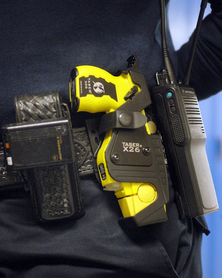 Taser guns, such as this one shown onSt. Paul, Minn.,police officer Julie Maidment, are legal in 43 states.