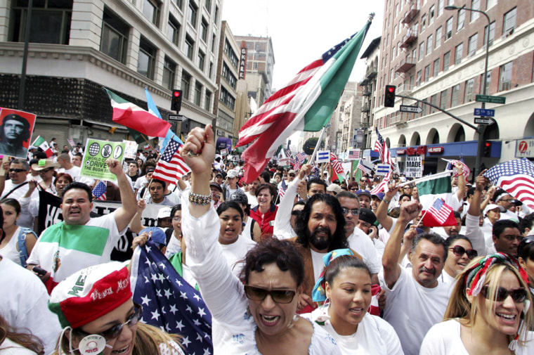 Demostrators March In LA Against Immigration Bills