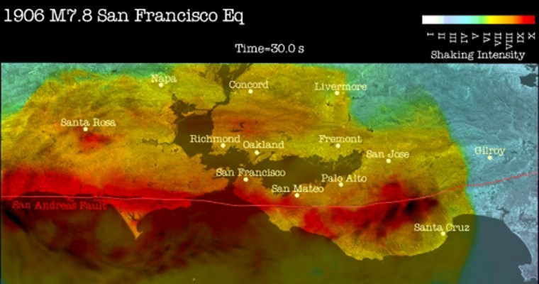 Simulation shows widespread shaking 30 secondsafter the start oftheSan Francisco quake.
