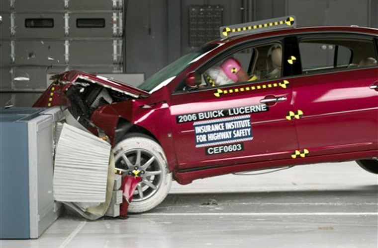 This undated photo provided by the The Insurance Institute for Highway Safety shows the institute's front-end crash test of a 2006 Buick Lucerne.